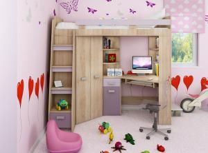 MEBLOCROSS Antresola L zostava do detskej izby sonoma svetlá / levanduľa / fialová
