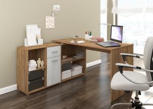 MEBLOCROSS Beat L rohový písací stôl craft zlatý / craft biely