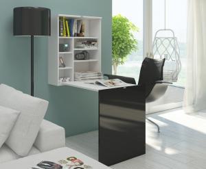 MEBLOCROSS Hide rozkladací písací stolík s regálom biela / čierna