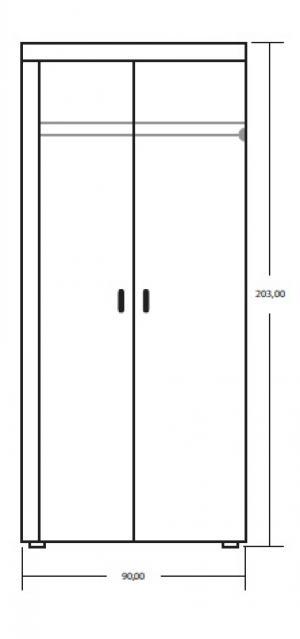 MEBLOCROSS Mamba 2D šatníková skriňa slivka / biela