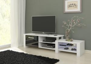 MEBLOCROSS Orion tv stolík biela / čierny lesk
