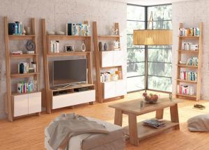 MEBLOCROSS Rack obývacia izba sonoma svetlá / biely lesk