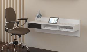 MEBLOCROSS Uno pc stolík na stenu biela / čierna