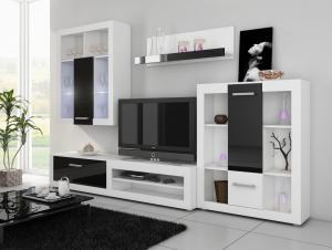MEBLOCROSS Viki obývacia stena biela / čierna