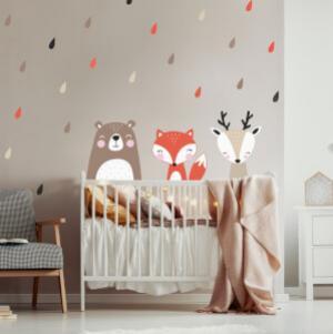 Medveď, líška a srnka - detské samolepky na stenu