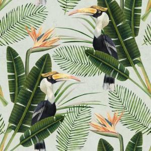 MINDTHEGAP Birds of Paradise, zelená/oranžová/čierna/biela/farebná skupina zelená/farebná skupina čierna + biela/farebná skupina oranžová