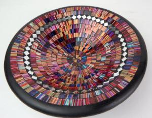 Miska ružová, okrúhla, ručná mozaika