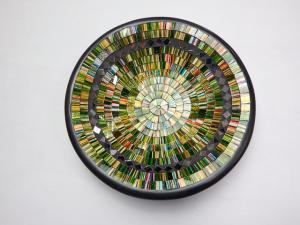 Miska zelená okrúhla, mozaika, ručná práca, Indonézia