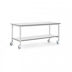 Mobilný dielenský stôl Motion, nastaviteľný, so spodnou policou, 2000x800mm