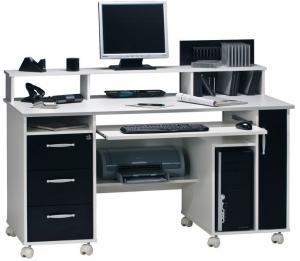 Písací stôl Model 9475, biely/čierny