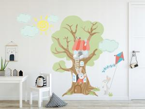 Moderná detská nálepka stenu zajačia rodinka zo stromu 100 x 200 cm