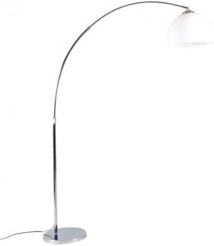 Moderná oblúková lampa chróm s bielym tienidlom - Arc Basic