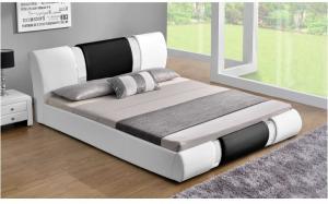 Moderná posteľ, biela/čierna, 180x200, LUXOR