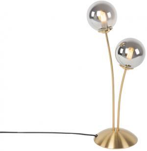 Moderná stolná lampa zlatá 2-žiarovka s dymovým sklom - Atény