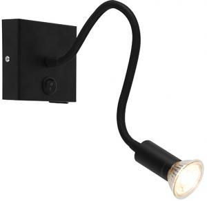 Moderné flexibilné nástenné svietidlo USB čierne - Zeno