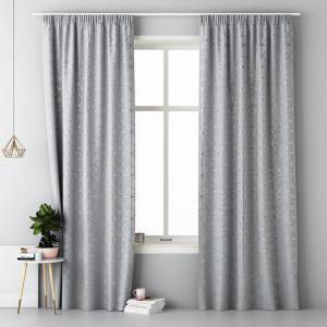 Moderné závesy svetlo sivej farby so strieborným vzorom