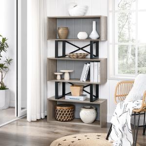 Moderní knihovna šedý dub 80 x 149 x 30 cm