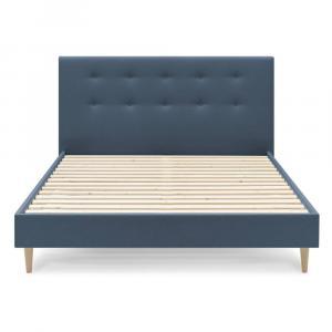 Modrá dvojlôžková posteľ Bobochic Paris Light, 180 x 200 cm