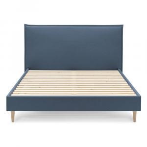 Modrá dvojlôžková posteľ Bobochic Paris Sary Light, 160 x 200 cm