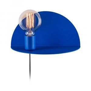 Modrá nástenná lampa s poličkou Shelfie Anna, výška 15 cm