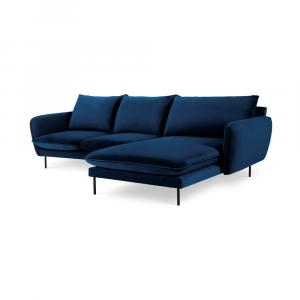 Modrá zamatová rohová pohovka Cosmopolitan Design Vienna, pravý roh