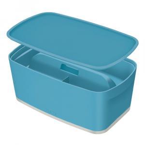 Modrá úložná škatuľa s vekom a organizérom Leitz Cosy, objem 5 l