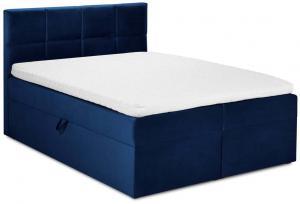 Modrá zamatová dvojlôžková posteľ Mazzini Beds Mimicry, 200 x 200 cm