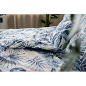 Modré bavlnené obliečky Cotton House Monstera, 140 x 200 cm