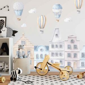 Modré domčeky, nálepky do detskej izby s balónmi