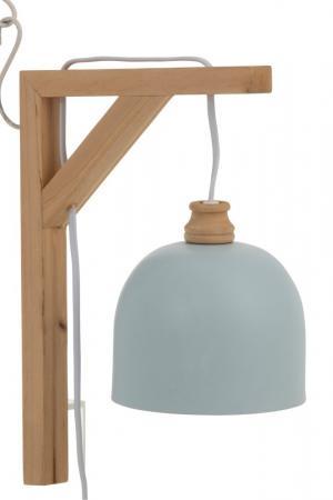 Modré nástenné kovové svetlo na drevenom držiaku Denis - 20 * 14 * 30 cm