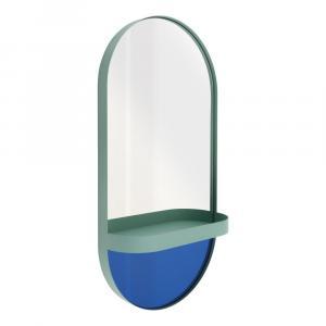 Modré nástenné zrkadlo s poličkou Remember Taupe