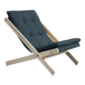 Modré skladacie kreslo z bukového dreva Karup Design Boogie Raw/Petrol Blue