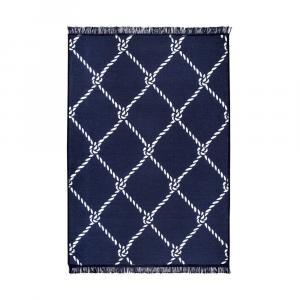 Modro-biely obojstranný koberec Rope, 80×150 cm