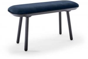 Modro-čierna zamatová lavica EMKO Naive, 100 cm