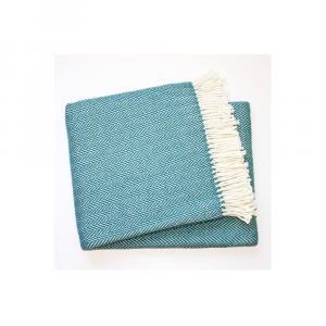 Modrý pléd s podielom bavlny Euromant Skyline, 140 × 160 cm