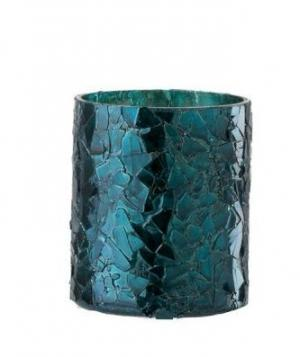Modrý sklenený svietnik - Ø 7 * 8 cm