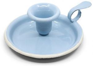 Modrý smaltovaný svietnik Blue dot - Ø 13 * 6cm