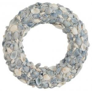 Modrý veniec z mušličiek a korálok Couronne S - Ø 24 * 4cm