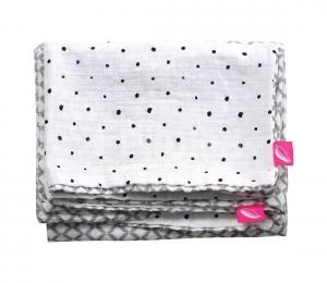 MOTHERHOOD - Obliečky bavlnené mušelínové do postieľky Pro-Washed 2-dieľne šedá