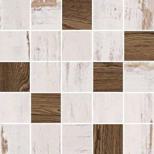 Mozaika ETNIC 25 x 25 cm, biele-hnedé drevo