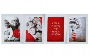 Multirám na 4 fotky, biely, 4x10x15cm
