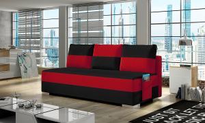 NABBI Adria rozkladacia pohovka s úložným priestorom čierna / červená