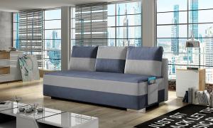 NABBI Adria rozkladacia pohovka s úložným priestorom modrá / svetlosivá