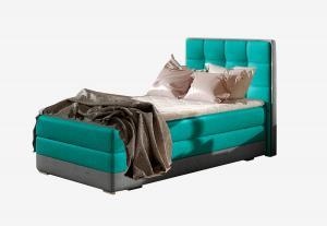 NABBI Alessandra 90 L čalúnená jednolôžková posteľ svetlomodrá / sivá
