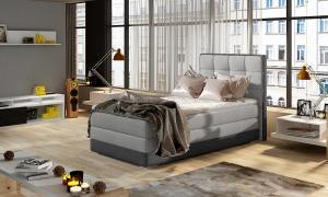 NABBI Alessandra 90 L čalúnená jednolôžková posteľ svetlosivá (Sawana 21) / sivá (Sawana 05)