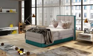 NABBI Alessandra 90 L čalúnená jednolôžková posteľ svetlosivá / svetlomodrá