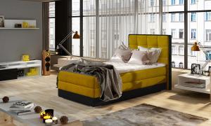 NABBI Alessandra 90 L čalúnená jednolôžková posteľ žltá / čierna