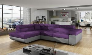 NABBI Almero L rohová sedačka s rozkladom a úložným priestorom fialová / sivá
