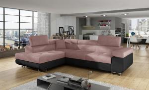 NABBI Almero L rohová sedačka s rozkladom a úložným priestorom ružová / čierna