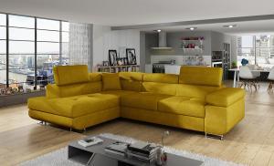 NABBI Almero L rohová sedačka s rozkladom a úložným priestorom žltá